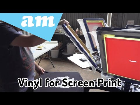 Vinyl for Screenprinting is Cost Effective, Screen Alignment Steps Demo on 6 Station Screen Printer