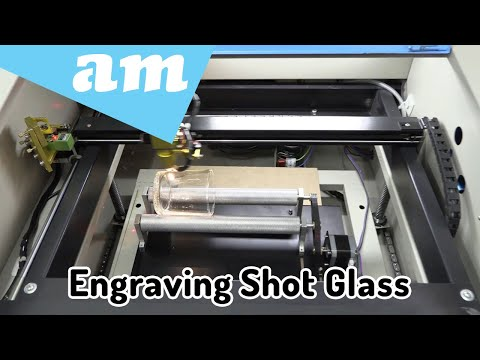 Laser Engraving on Shot Glass Using TruCUT Lite 40W CO2 Desktop Laser Machine with Rotary Attachment